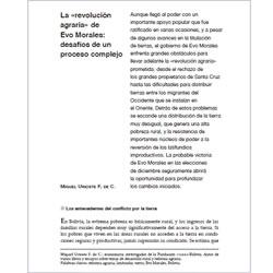 La «revolución agraria» de Evo Morales: desafíos de un proceso complejo